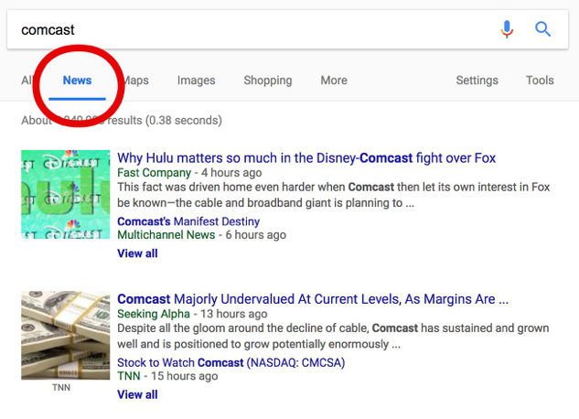 Comcast SERP
