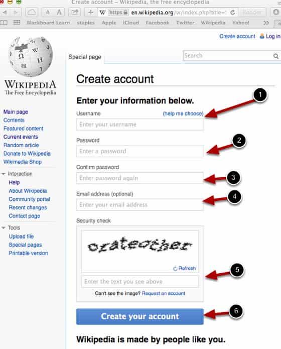 Create a Wikipedia account