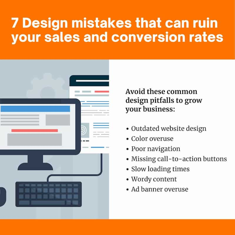 Design mistakes that ruin your sales and conversion rates