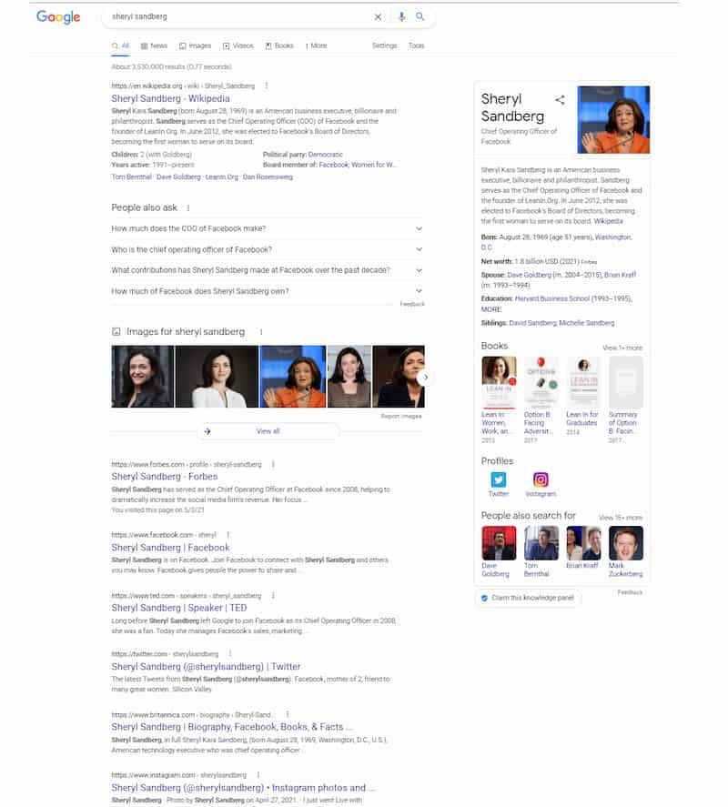 Sheryl Sandberg search results