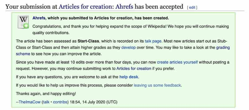 Submit Wikipedia article for review