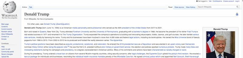 Trump wikipedia page