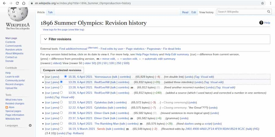 Wikipedia revision history