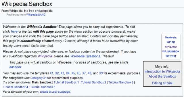 Wikipedia sandbox