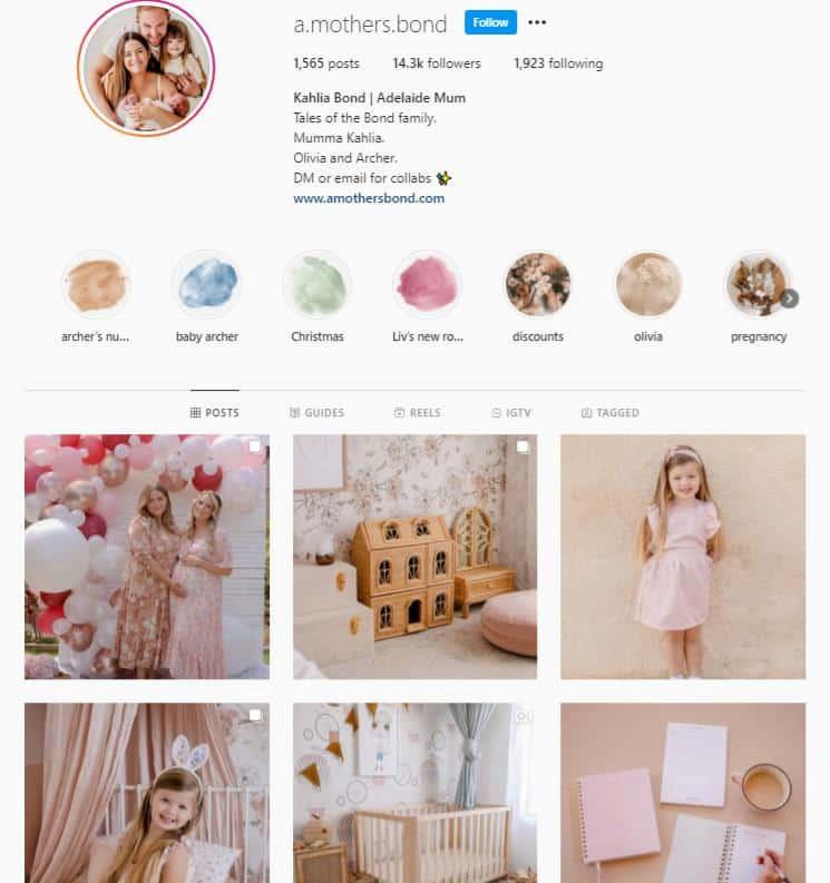 a mothers bond Instagram