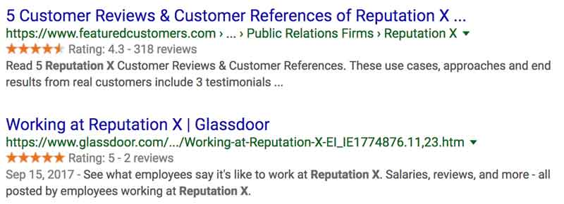 example of reviews in serps