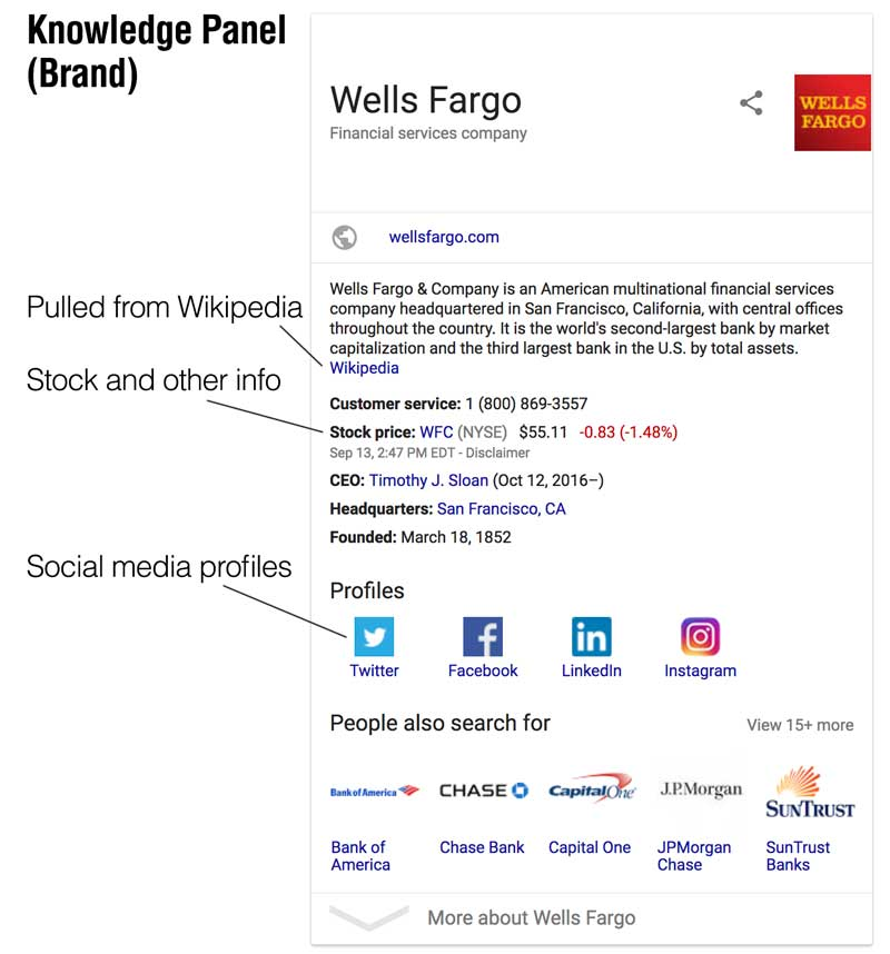 google brand knowledge panel example