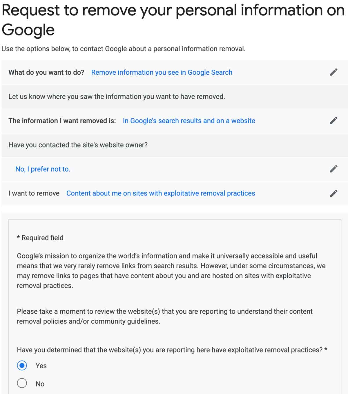 remove google results for exploitive practices form