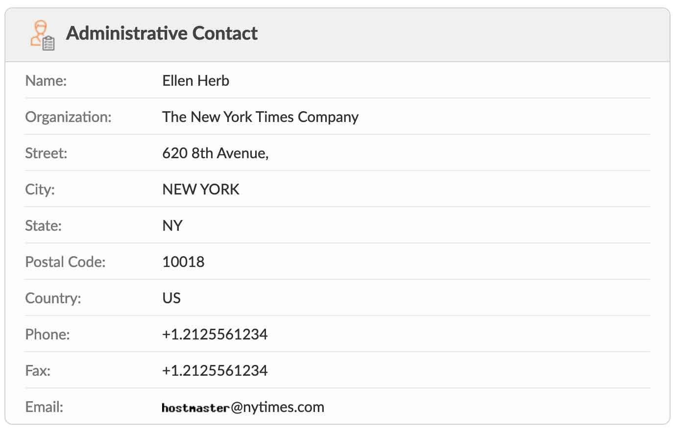 whois information for new york times