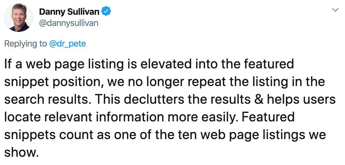 danny sullivan tweet about position zero
