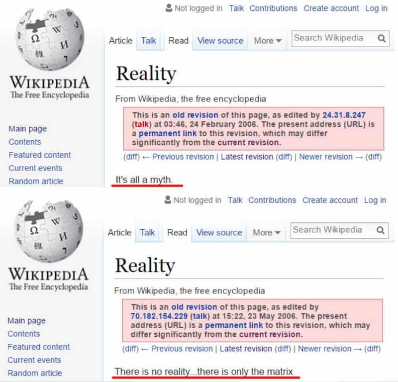 reality wikipedia page