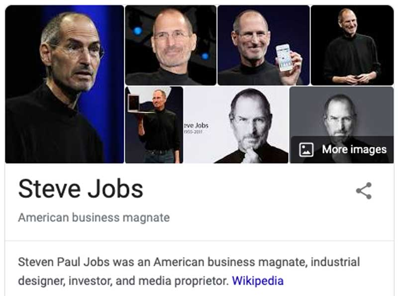 steve jobs knowledge panel in google