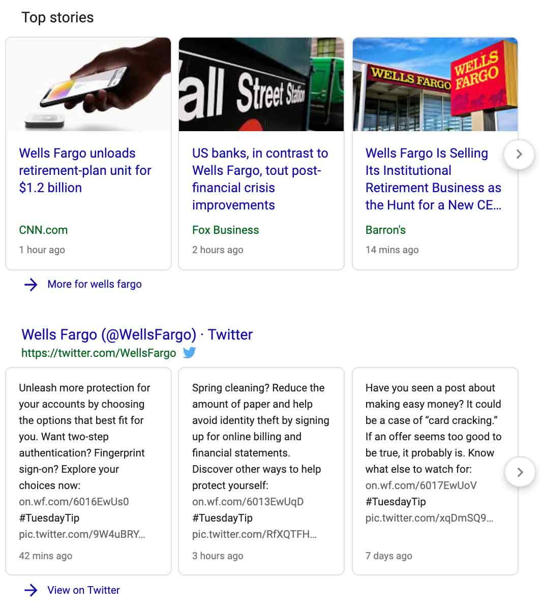 example of twitter in search results and also news