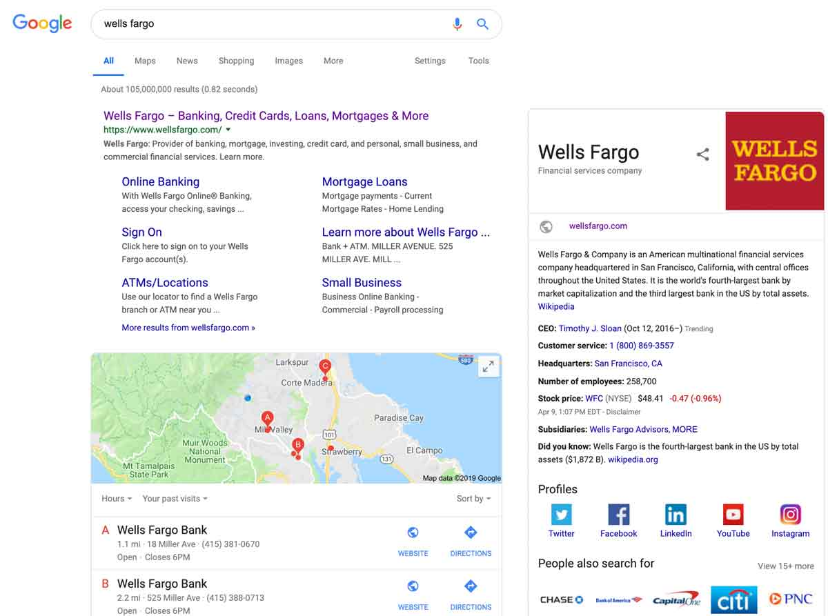 a rich search result for wells fargo