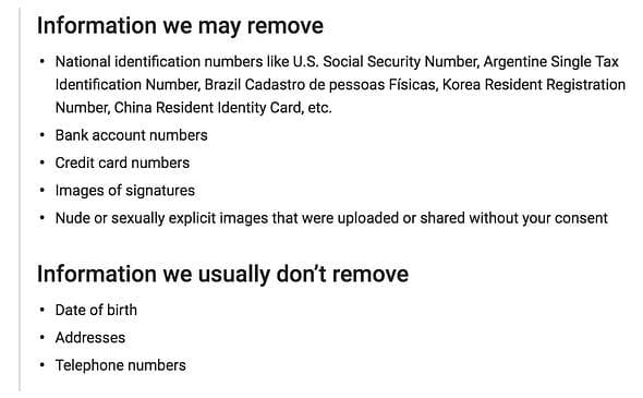 what google removes