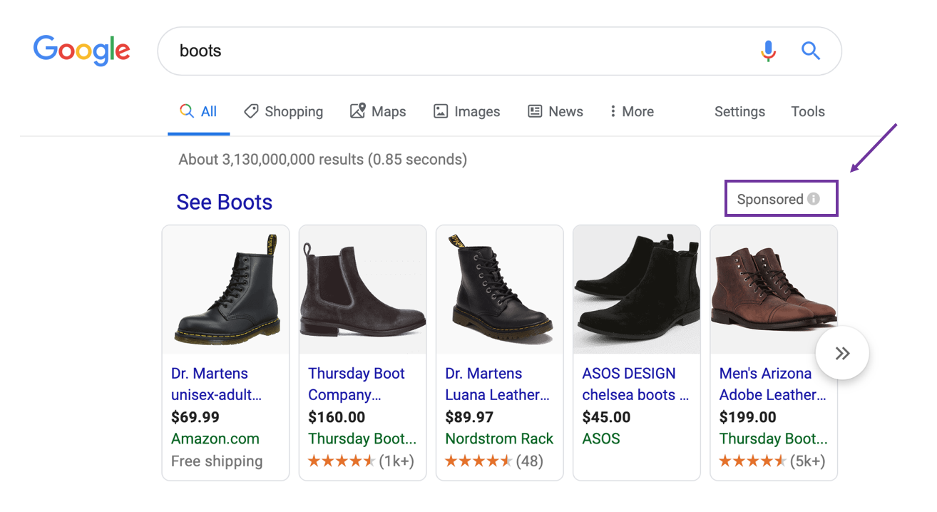 example of shoes on a carousel in google